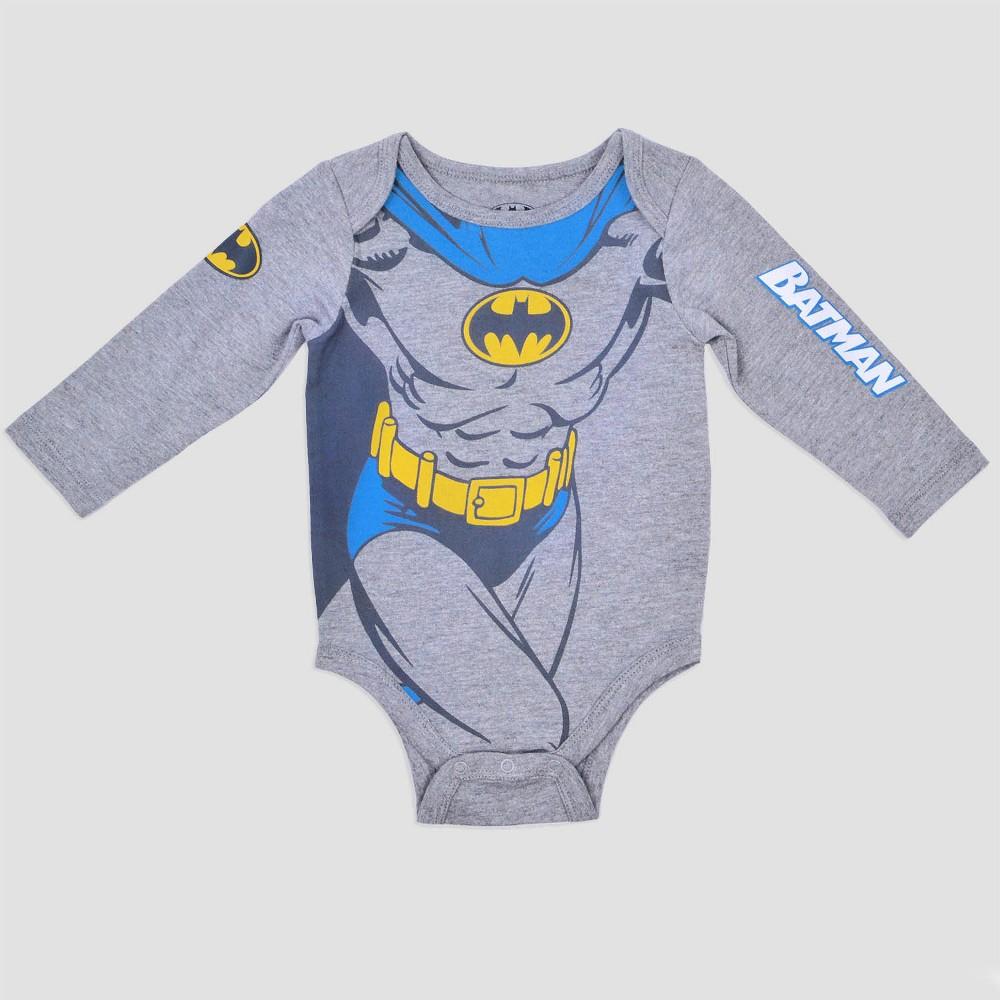 Baby Boys Batman Bodysuit - Grey 6-9m, Size: 6-9 M, Gray