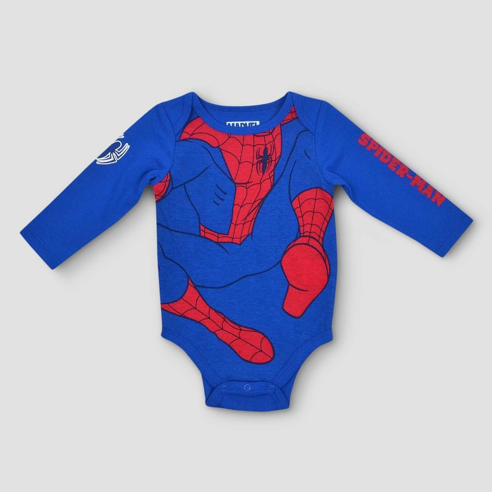 Baby Boys Spiderman Bodysuit - Blue 3-6m, Size: 3-6 M