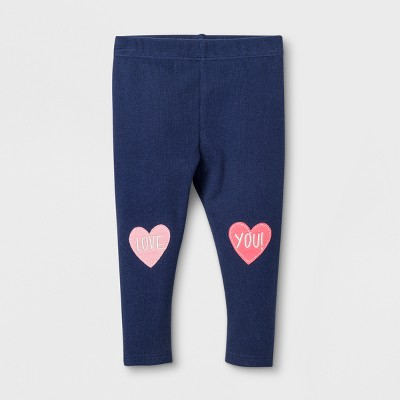 Baby Girls' Love You Rib Leggings - Cat & Jack™ Navy NB