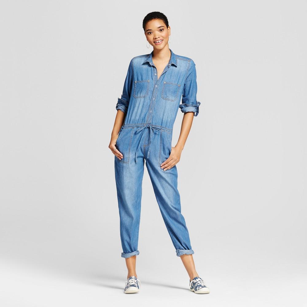 Womens Roll Sleeve Drawsting Waist Jumpsuit - Dollhouse (Juniors) Medium Denim Wash M, Blue
