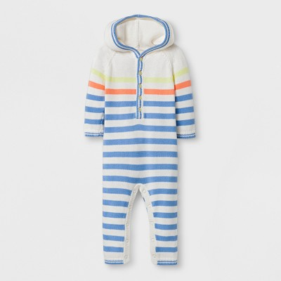 Baby Boys' Stripped Long Sleeve Hooded Sweater Romper - Cat & Jack™ Cream/Blue 0-3M