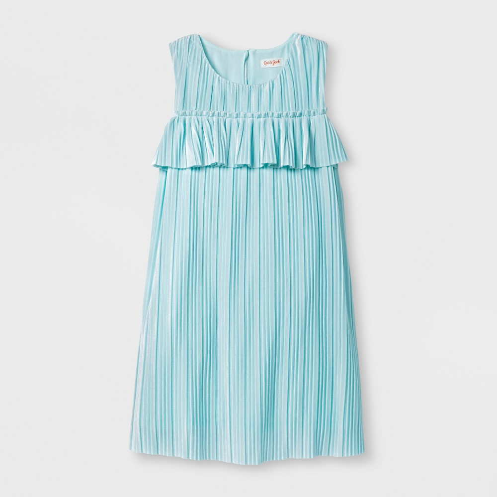 Girls Pleated Velvet Dress - Cat & Jack Aqua L, Green