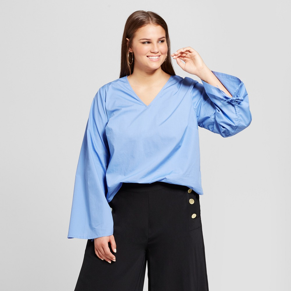 Womens Plus Size Drawstring Sleeve Top - Who What Wear Blue 2X