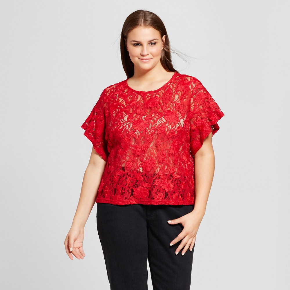 Womens Plus Size Short Sleeve Lace T-Shirt - Who What Wear Red 3X