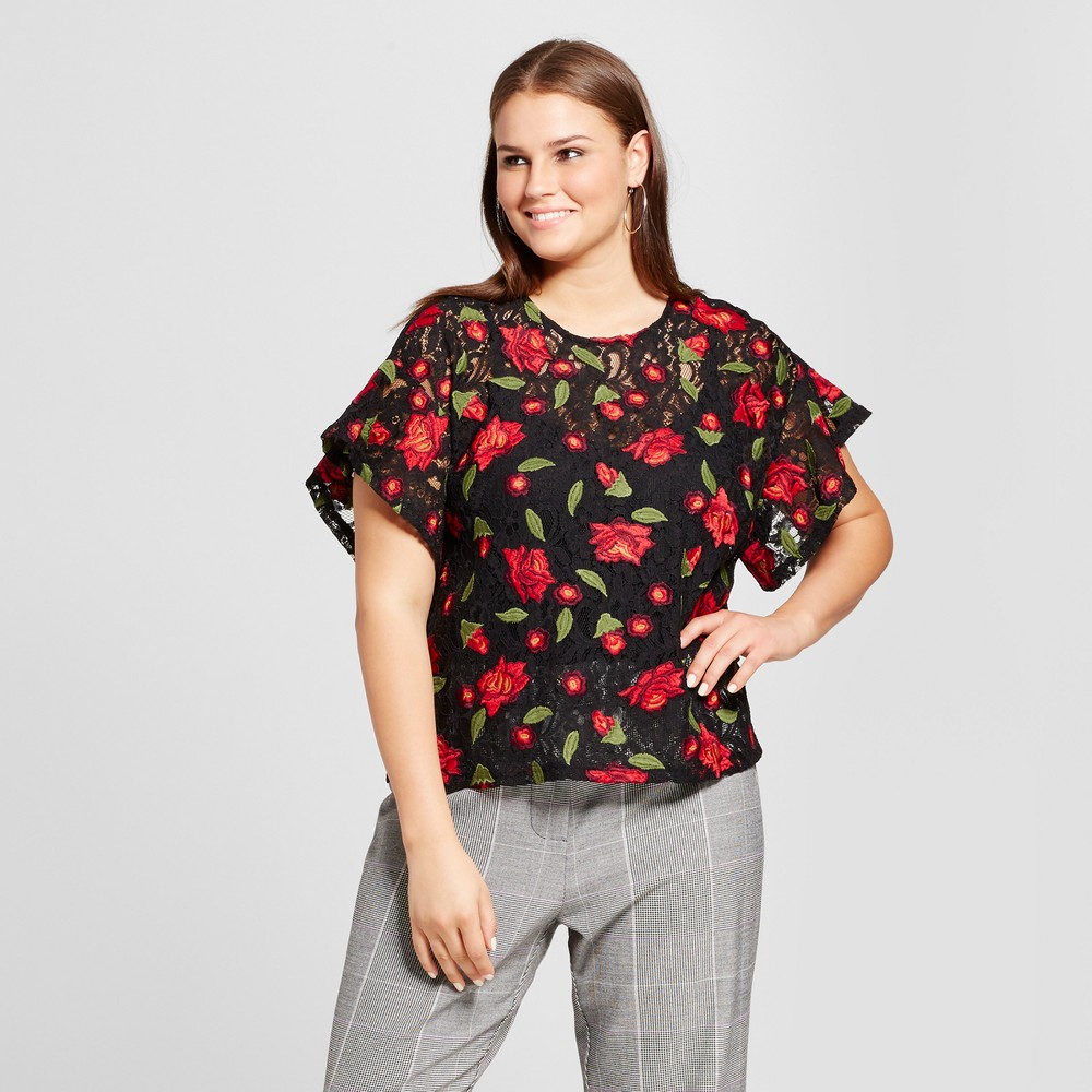 Womens Plus Size Short Sleeve Embroidered T-Shirt - Who What Wear Black Floral X