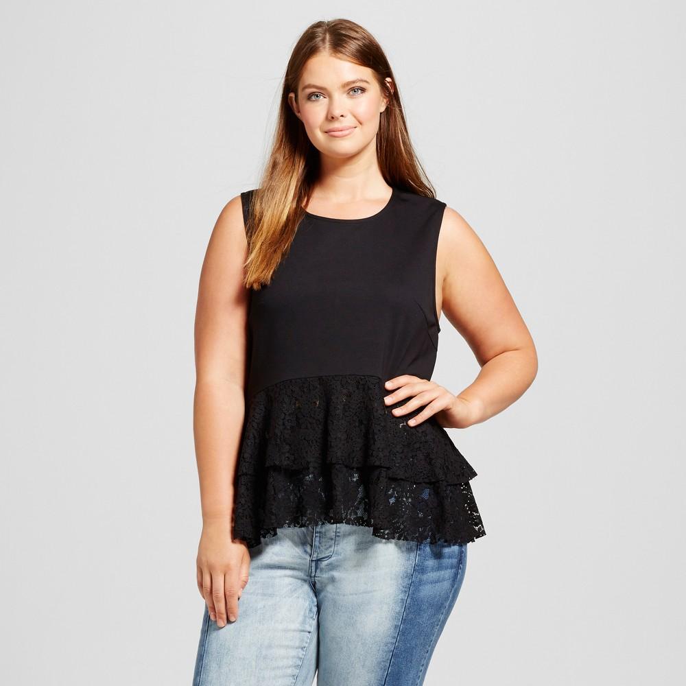 Womens Plus Size Lace Mix Layered Tank Top - Who What Wear Black 4X