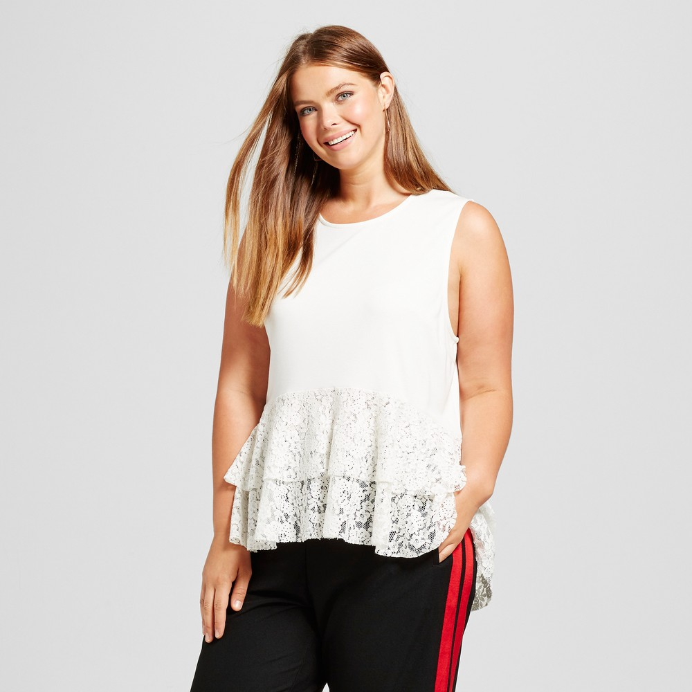 Womens Plus Size Lace Mix Layered Tank Top - Who What Wear White 3X