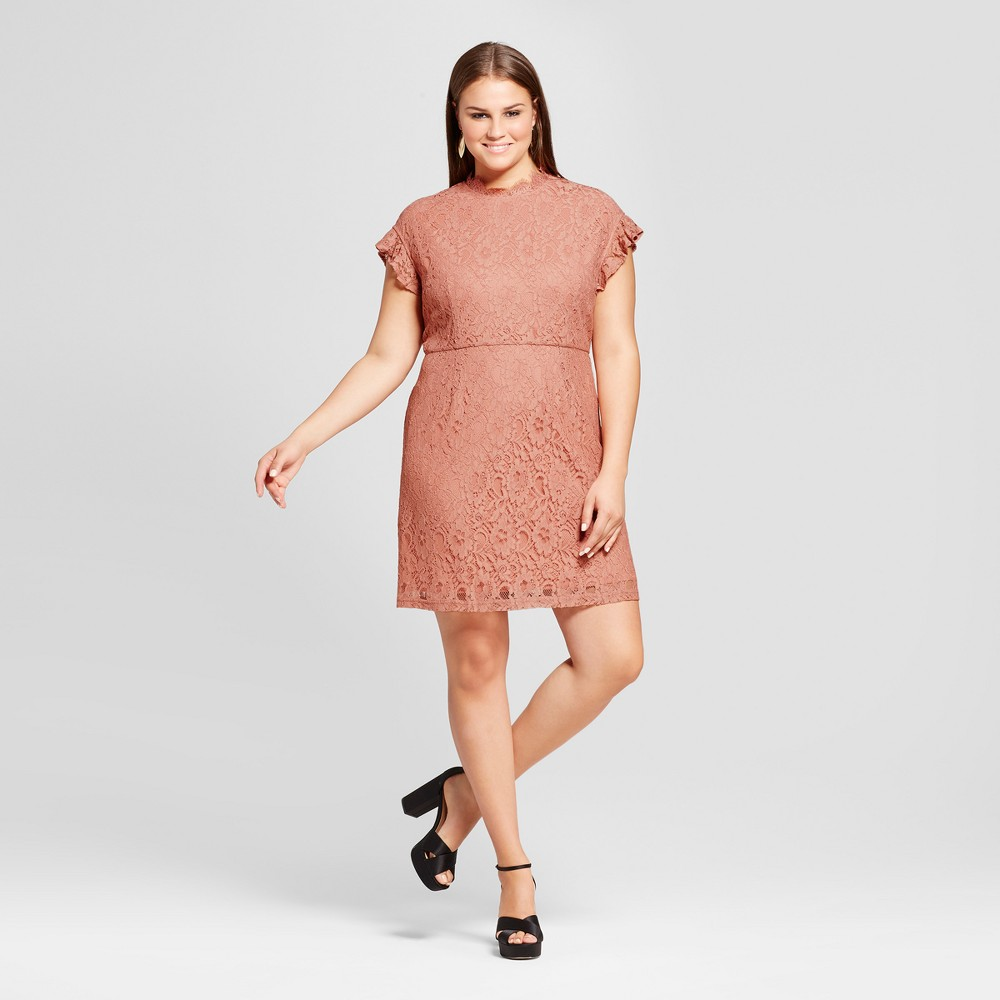 Womens Plus Size Lace Flutter Sleeve Dress - Who What Wear Pink 4X