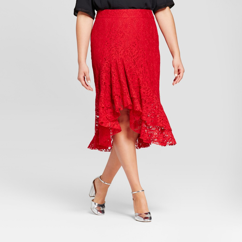 Womens Plus Size Fluted Lace Skirt - Who What Wear Red 20W
