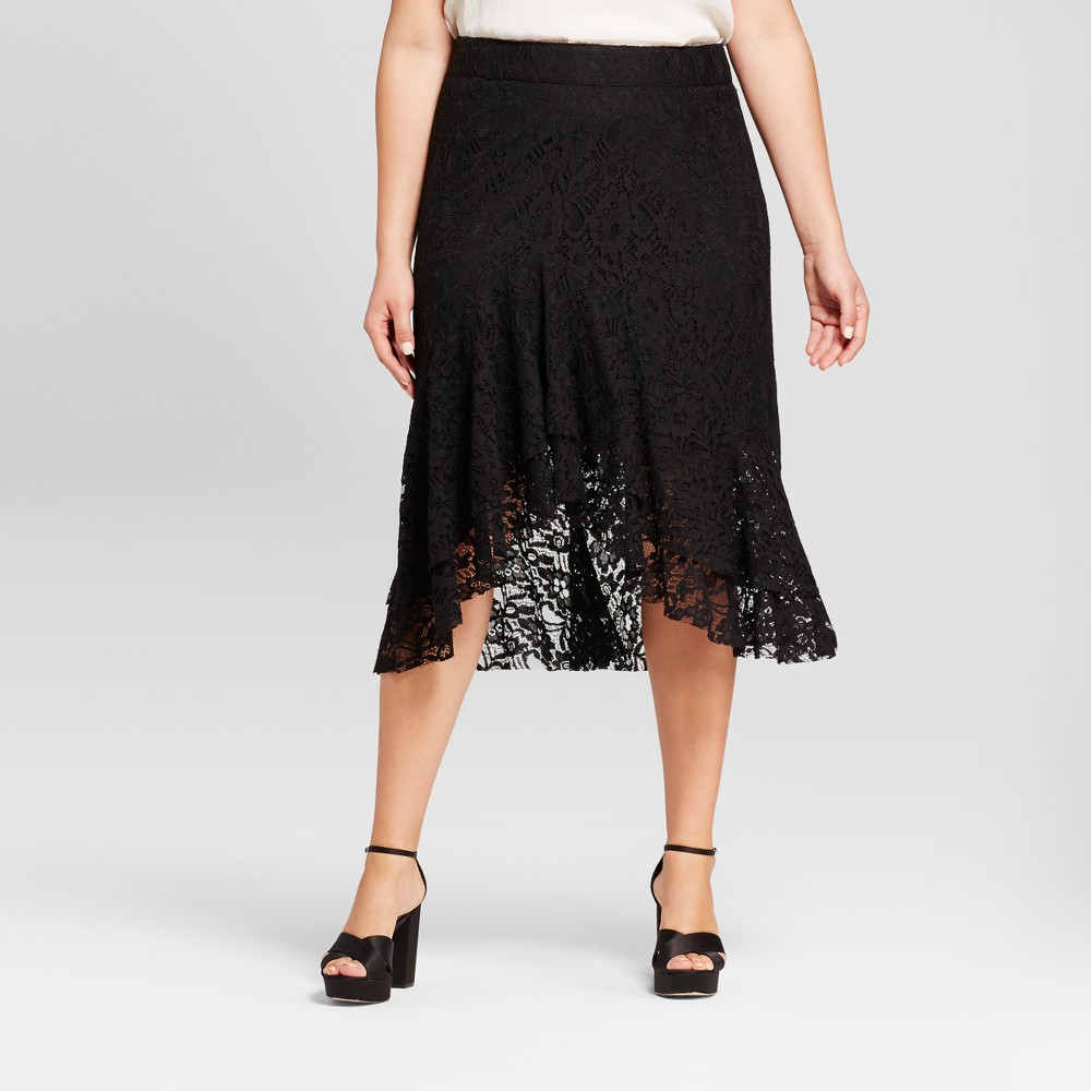 Womens Plus Size Fluted Lace Skirt - Who What Wear Black 26W