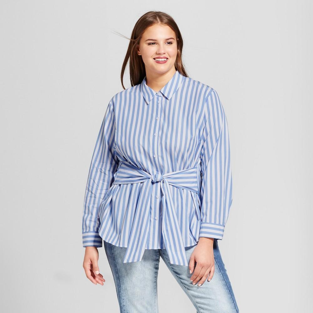 Womens Plus Size Tie Waist Blouse - Who What Wear Blue/White Stripe 3X