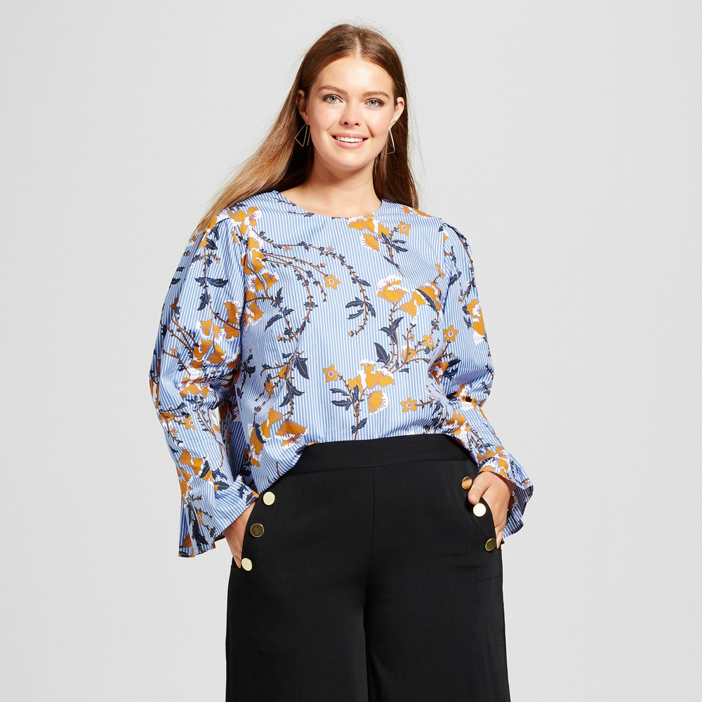 Womens Plus Size Bubble Sleeve Shirt - Who What Wear Blue Floral 2X