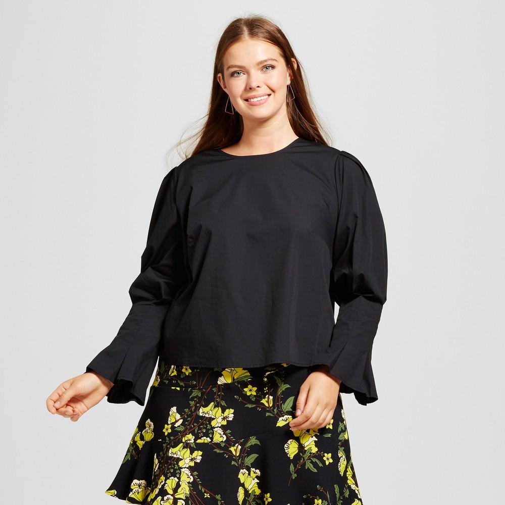 Womens Plus Size Bubble Sleeve Shirt - Who What Wear Black 2X
