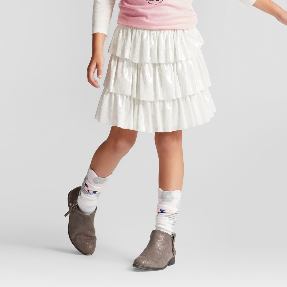 Girls Ruffle A Line Skirt - Cat & Jack Almond Cream L, White
