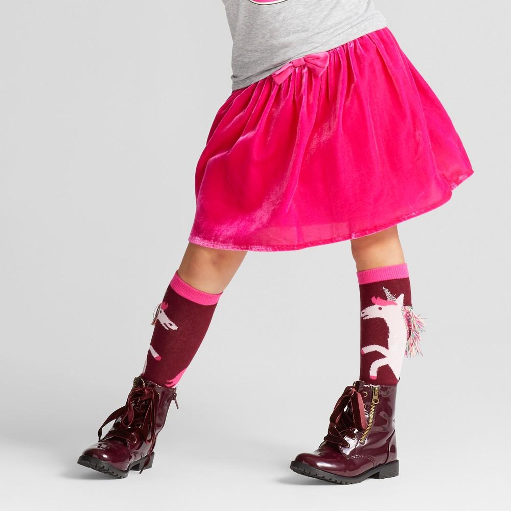 Girls Velvet A Line Skirt - Cat & Jack Pizzazz Pink Opaque M