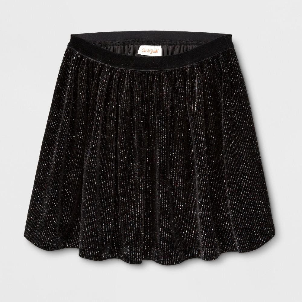 Girls Velvet Sparkle A Line Skirt - Cat & Jack Black M