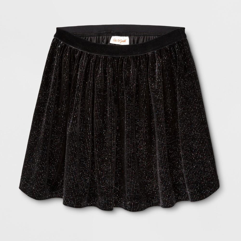 Girls Velvet Sparkle A Line Skirt - Cat & Jack Black XL