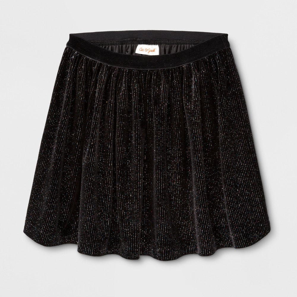 Girls Velvet Sparkle A Line Skirt - Cat & Jack Black XS