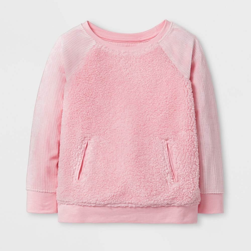 Toddler Girls Sherpa and Velour Pullover - Cat & Jack Restful Pink 18 M