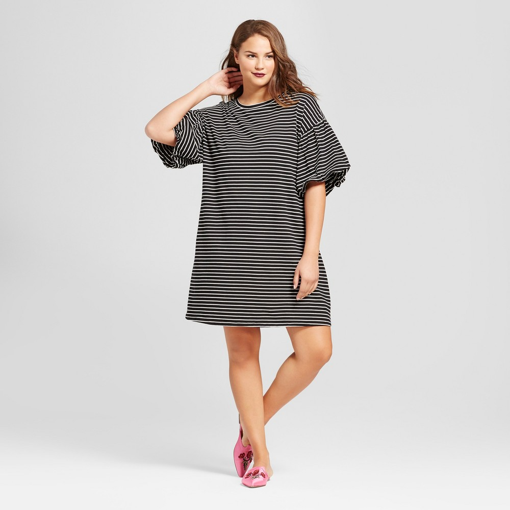 Womens Plus Size Puff Sleeve T-Shirt Dress - Who What Wear Black Stripe 1X