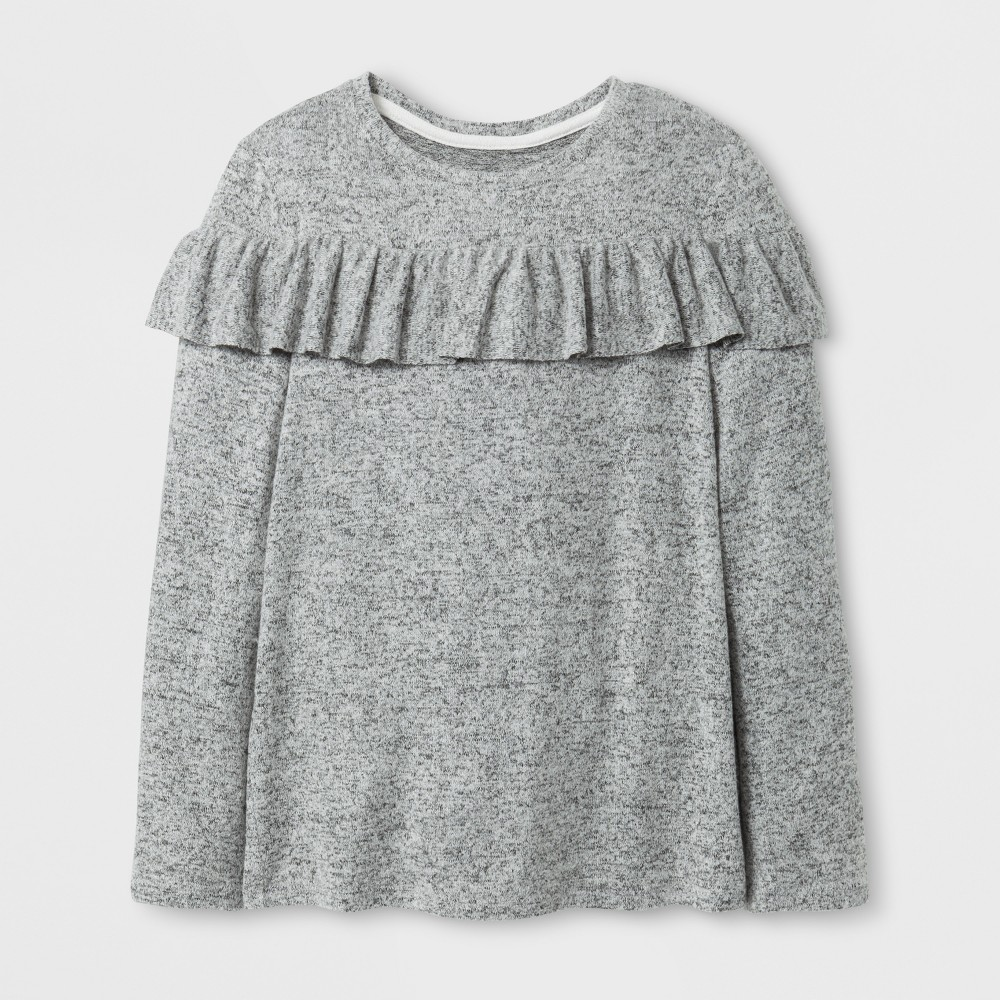 Girls Cozy Ruffle Pullover - Cat & Jack Heather Gray XS