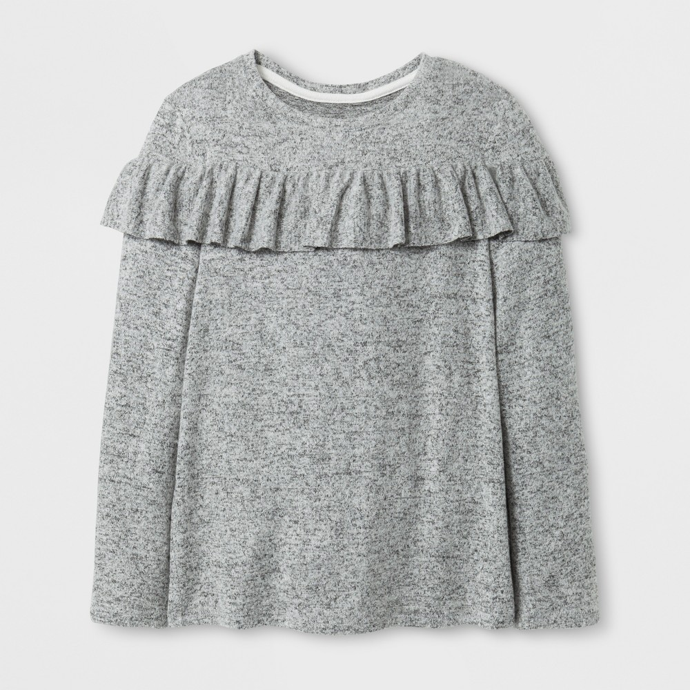 Girls Cozy Ruffle Pullover - Cat & Jack Heather Gray M