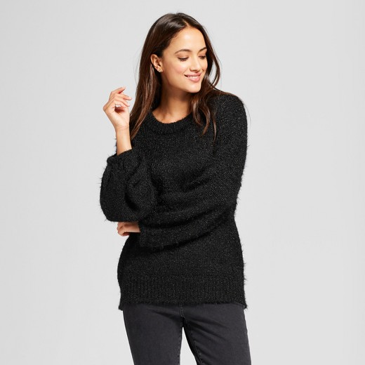 Women's Fuzzy Pullover Sweater - A New Day™ Black L : Target