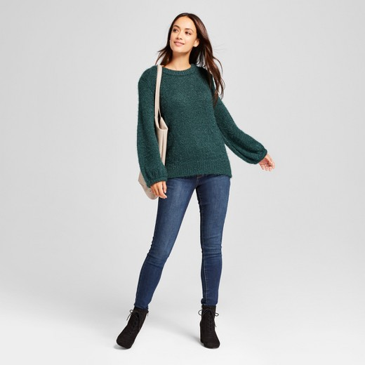Women's Fuzzy Pullover Sweater - A New Day™ Dark Green XL : Target