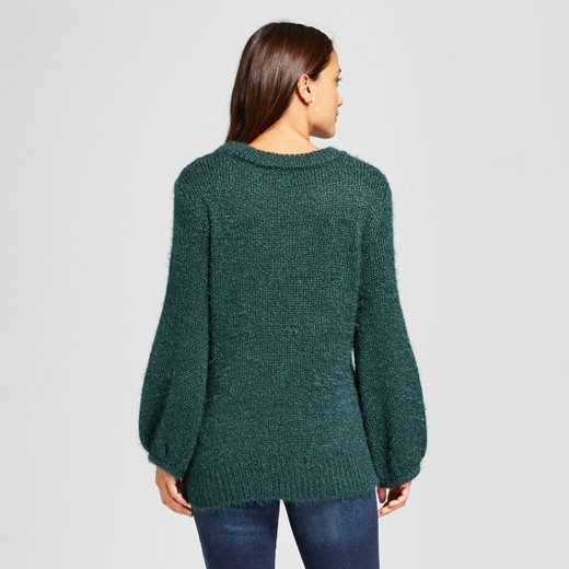 Women's Fuzzy Pullover Sweater - A New Day™ Dark Green S : Target