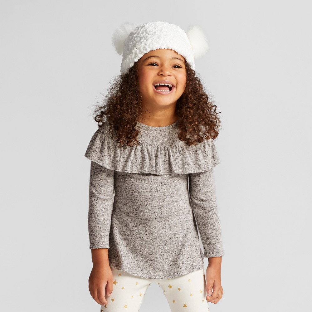 Toddler Girls Ruffle Cozy Pullover - Cat & Jack Gray 3T