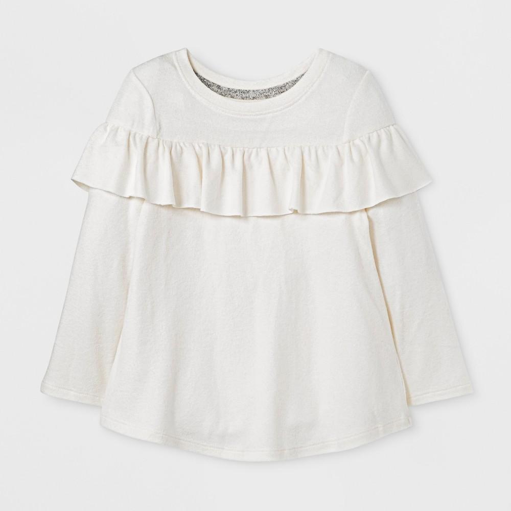 Toddler Girls Ruffle Cozy Pullover - Cat & Jack Cream 3T, White
