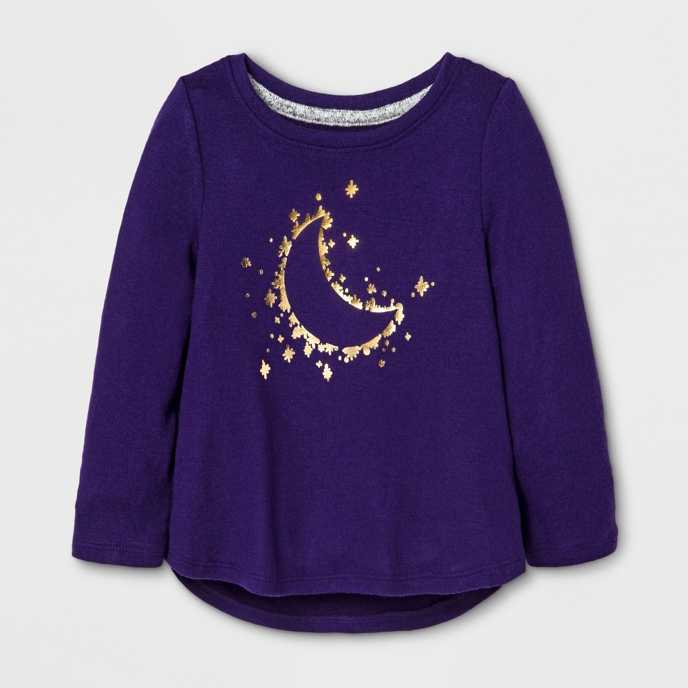 Toddler Girls Moon Stars Cozy Pullover - Cat & Jack Purple 3T