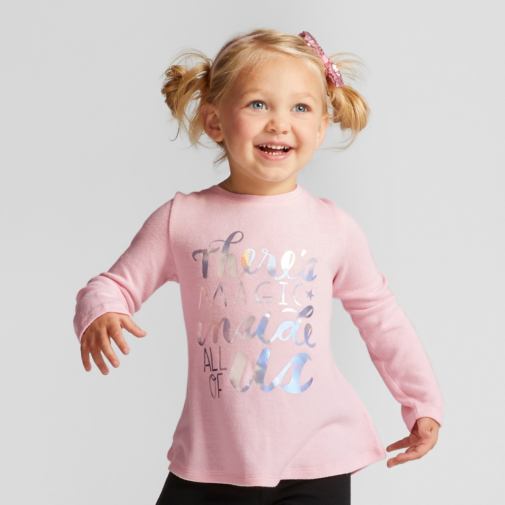 Toddler Girls Magic Cozy Pullover - Cat & Jack Pink 2T