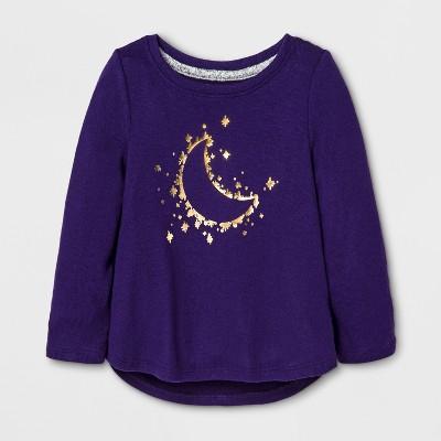 Toddler Girls' Moon Stars Cozy Pullover - Cat & Jack™ Purple 12 M