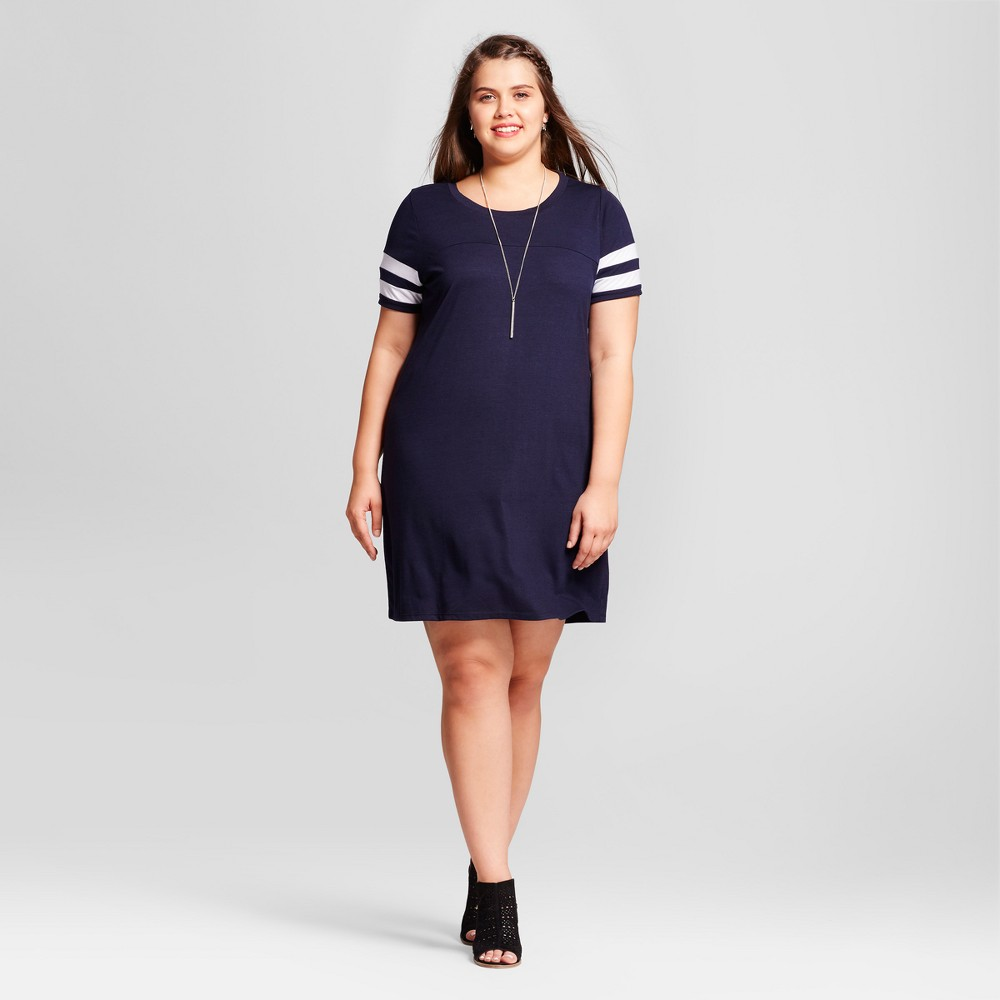 Womens Plus Size Striped Jersey Tunic Sleeve Dress - Almost Famous (Juniors) Blue 2X