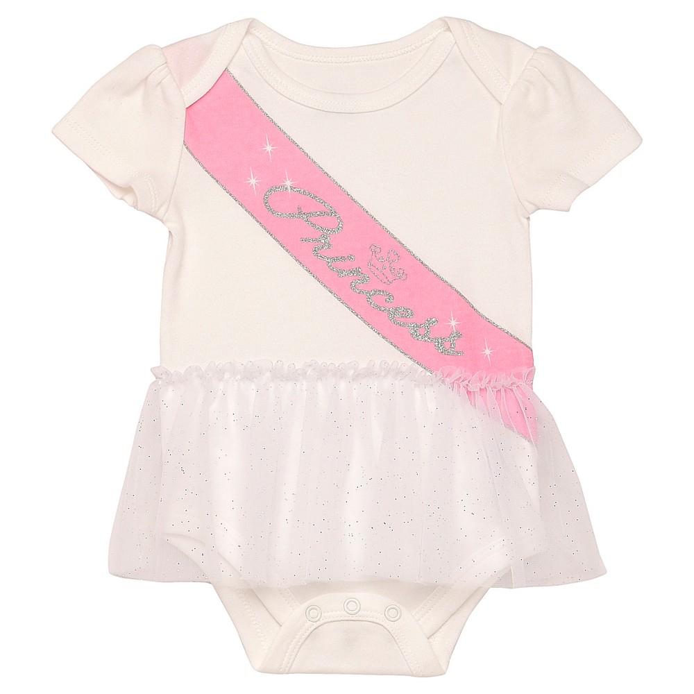 Baby Girls Princess Sash Bodysuit - White 9M, Size: 9 M