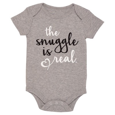 Baby The Snuggle is Real Bodysuit - Gray 6M