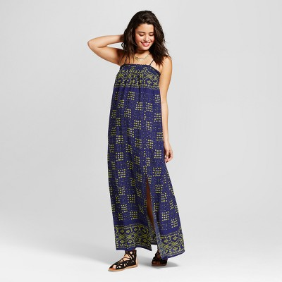 view Women's Smocked-Top Maxi Dress - Xhilaration (Juniors') Navy on target.com. Opens in a new tab.
