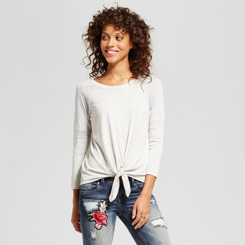 Womens Colorblock 3/4 Sleeve Baseball T-Shirt - Soul Cake (Juniors) White XL