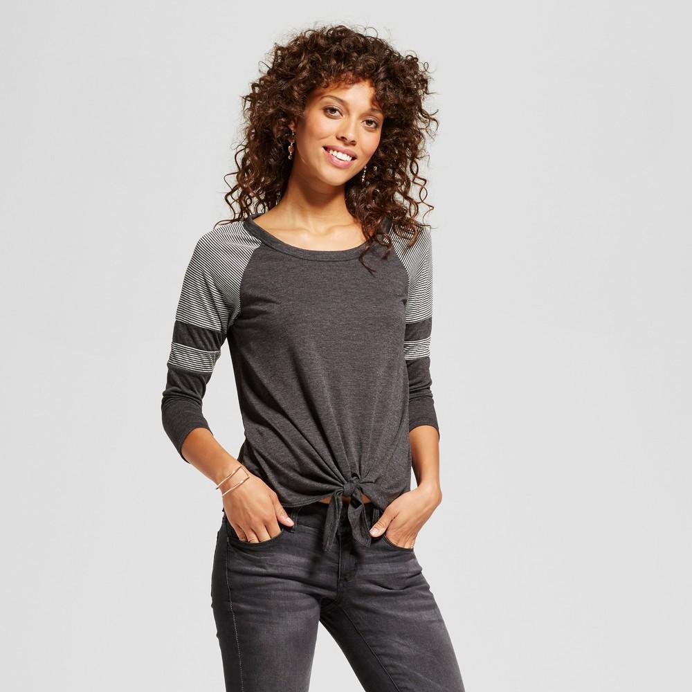 Womens Colorblock 3/4 Sleeve Baseball T-Shirt - Soul Cake (Juniors) Gray/Black XL