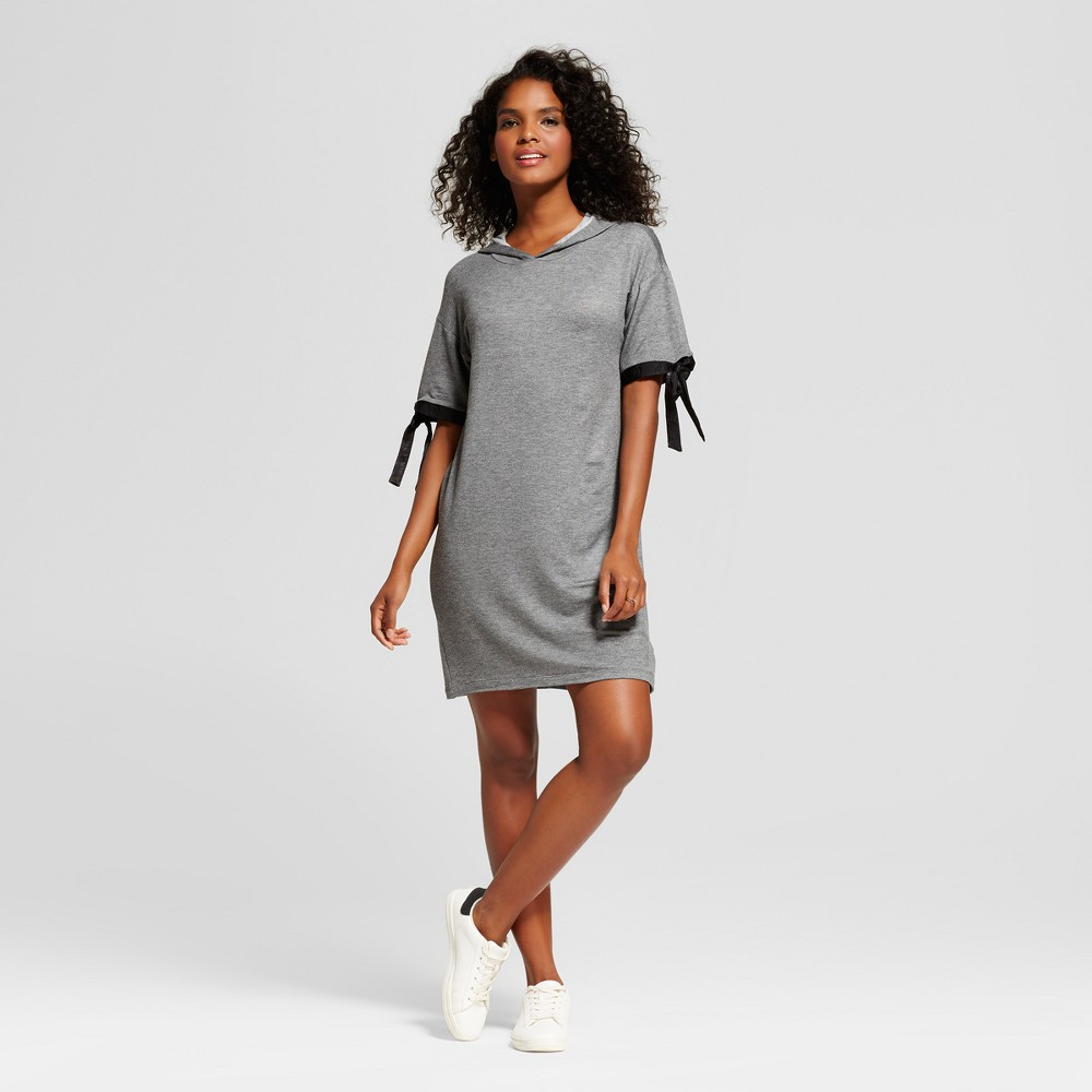 Womens Hooded French Terry Short Sleeve Dress - Soul Cake (Juniors) Gray L