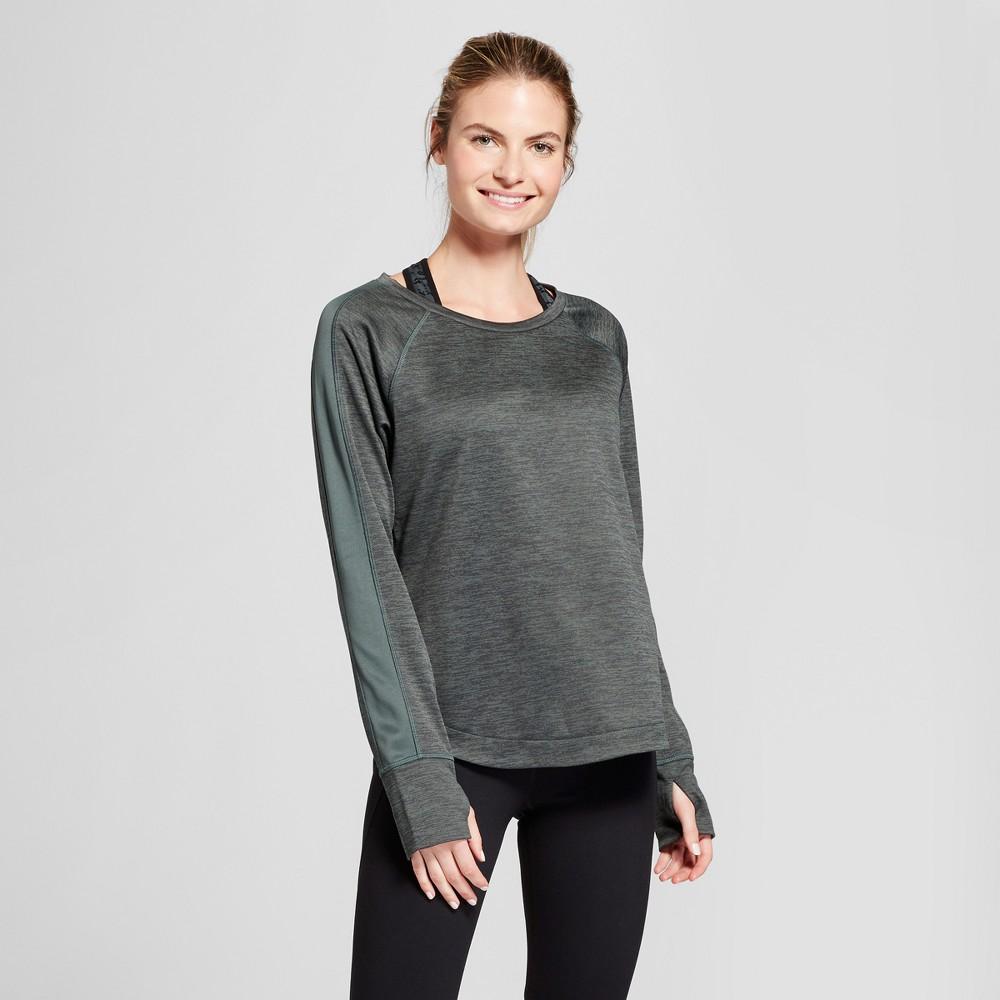 Women's Colorblock Tech Fleece Crew Pullover - C9 Champion Deep Green Heather L