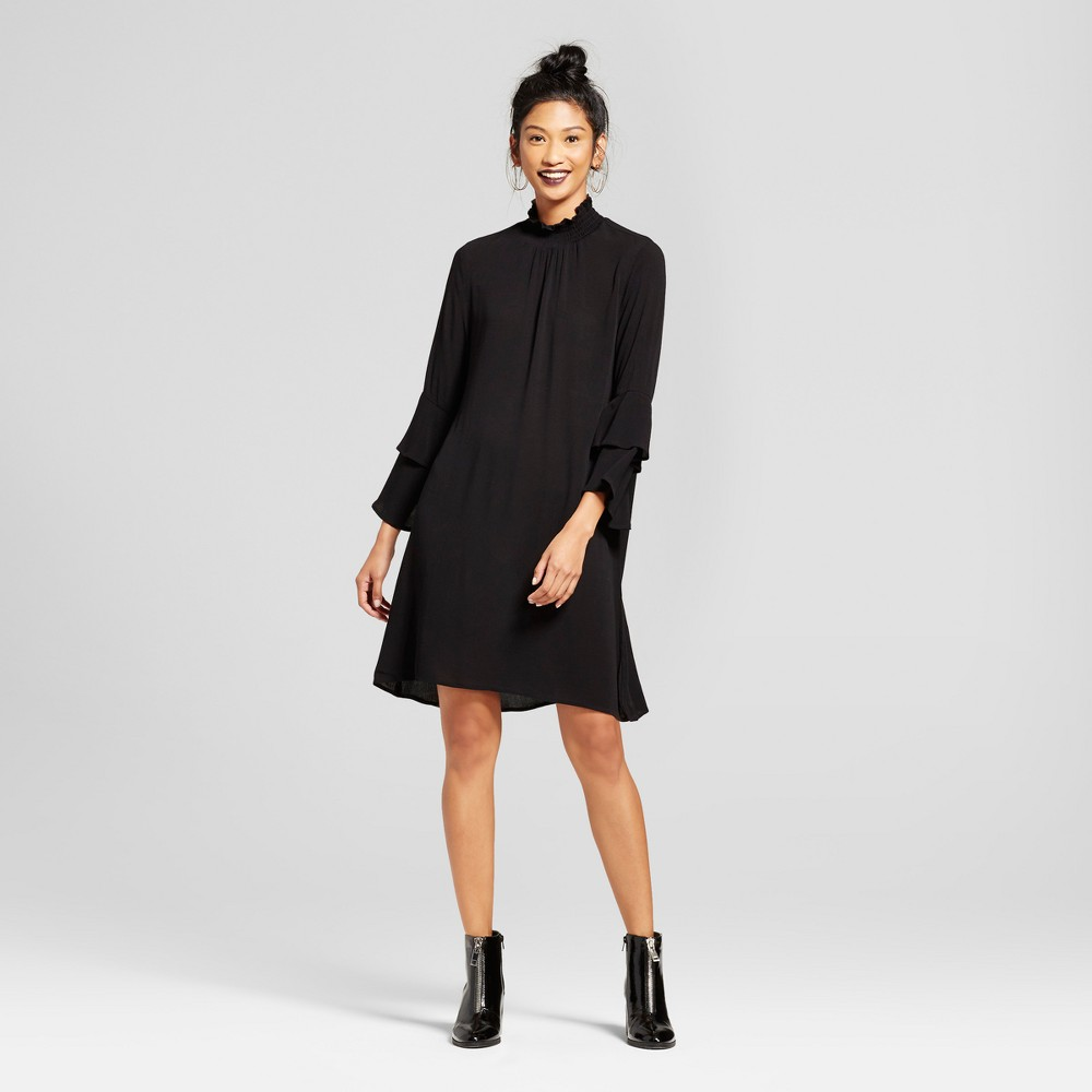 Womens Double Tiered Sleeve Mock Neck Dress - Soul Cake (Juniors) Black XL