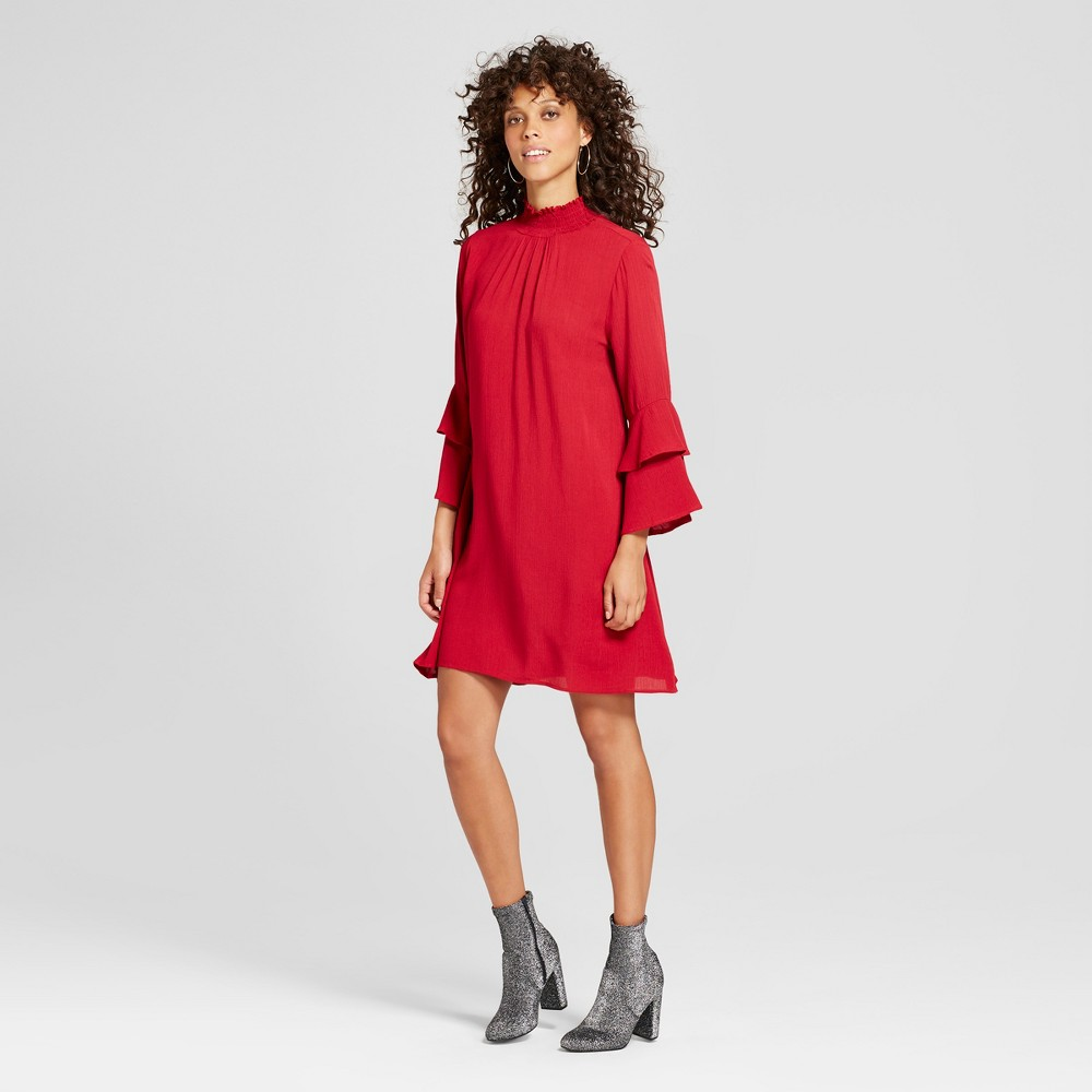 Womens Double Tiered Sleeve Mock Neck Dress - Soul Cake (Juniors) Red S