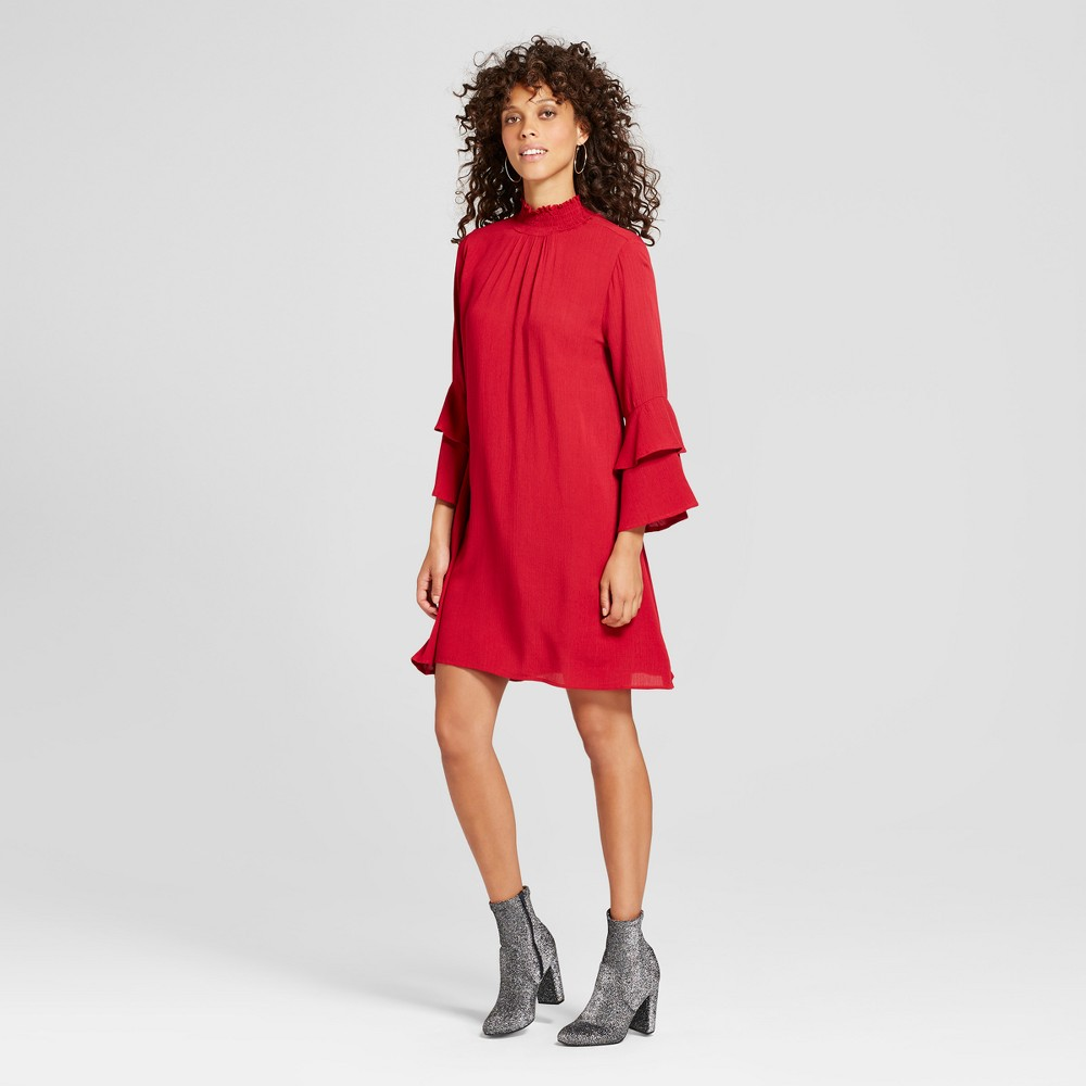 Women's Double Tiered Sleeve Mock Neck Dress - Soul Cake (Juniors') Red L