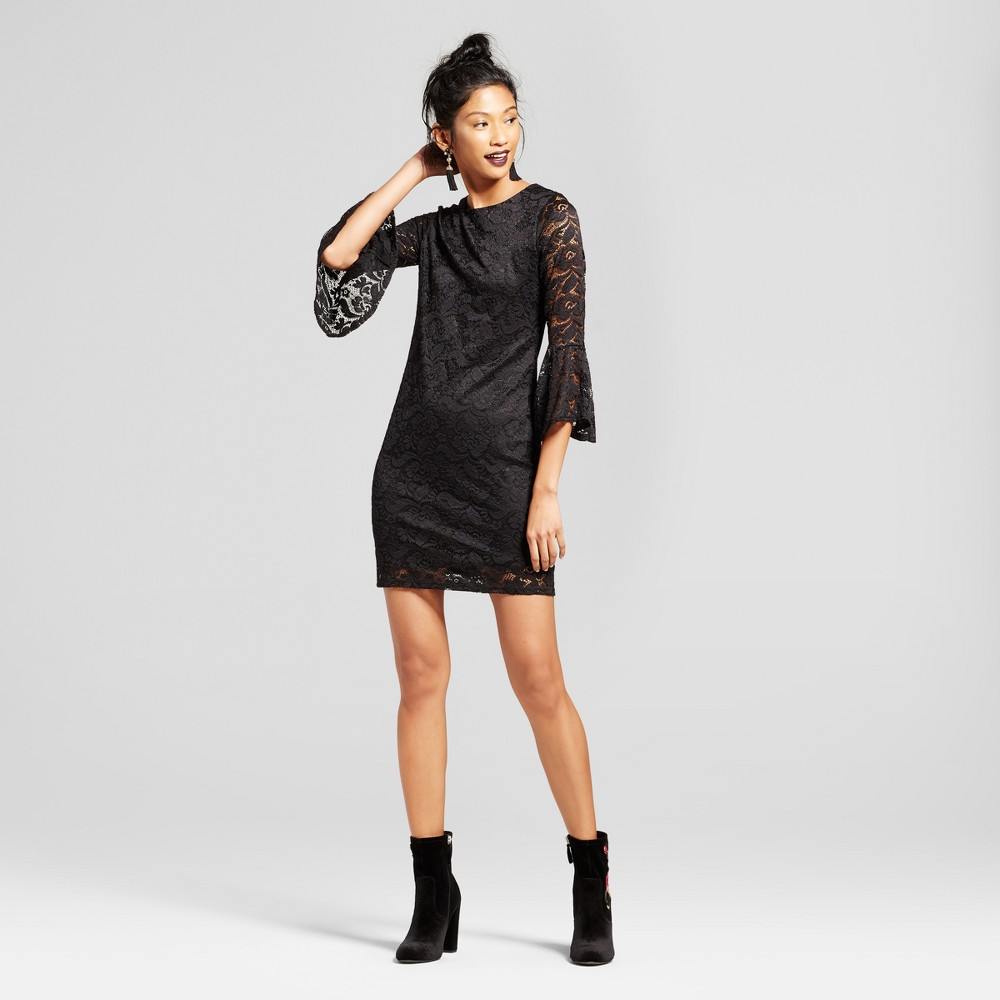 Womens Lace Bell Sleeve Fitted Midi Dress - Soul Cake (Juniors) Black L