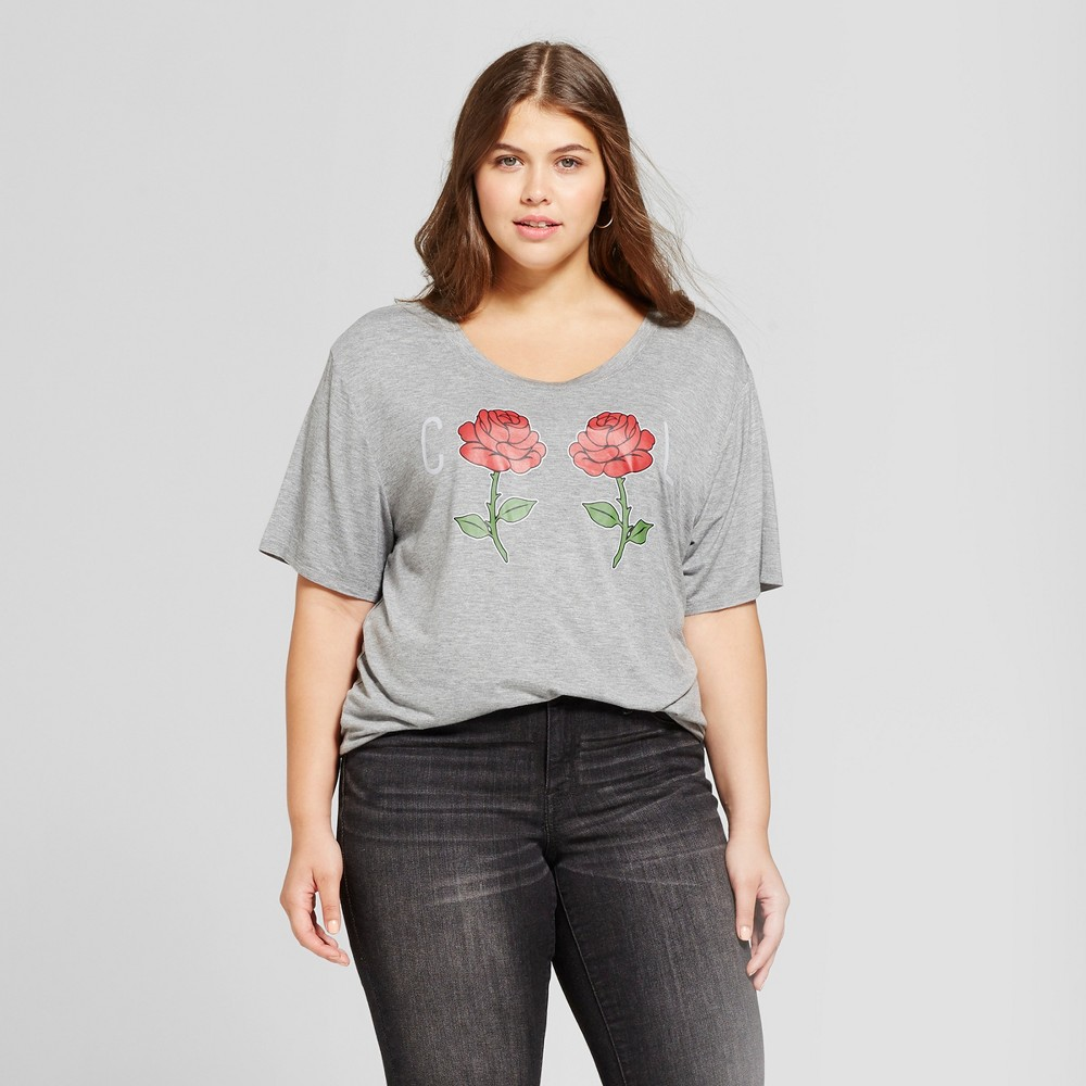 Womens Plus Size Cool Rose Graphic T-Shirt - Fifth Sun Gray 1X