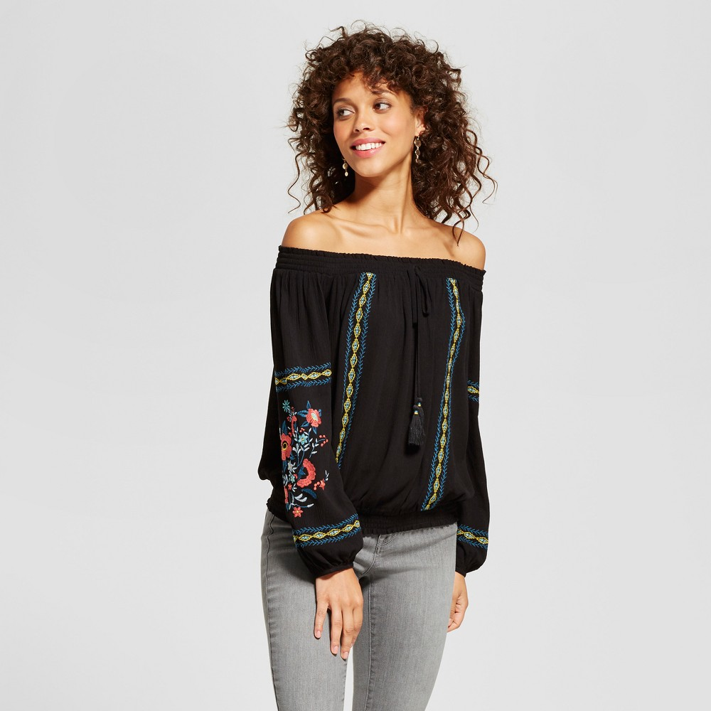 Womens Embroidered Smocked Off the Shoulder Top - Xhilaration (Juniors) Black M