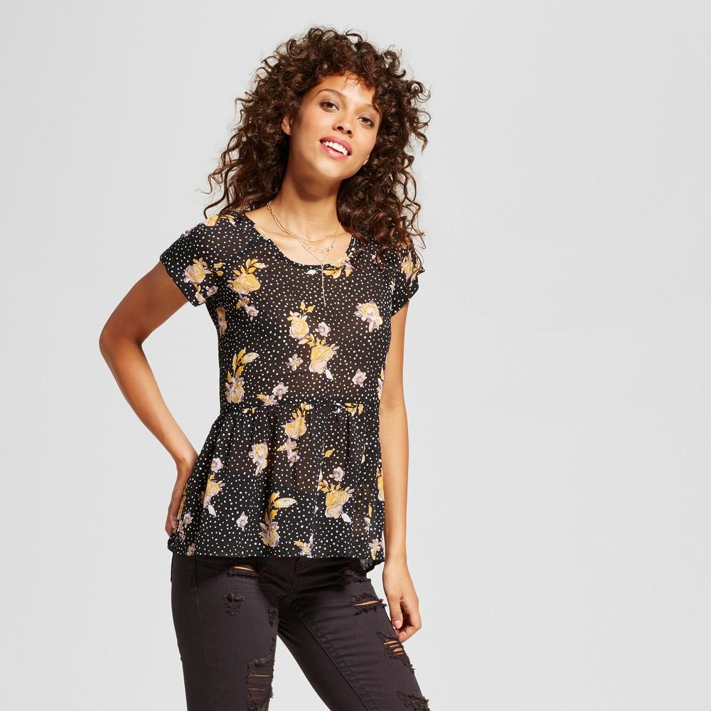 Womens Peplum Tie-Back T-Shirt - Xhilaration (Juniors) Black XS