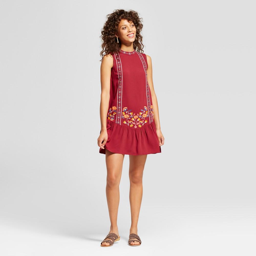 Womens Embroidered Drop-Waist Dress - Xhilaration (Juniors) Rose (Pink) Xxl